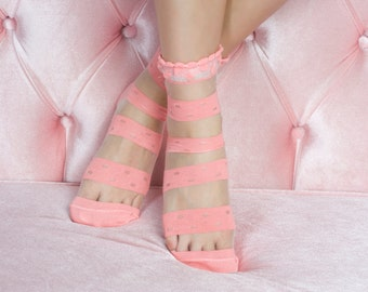 Pink Lace Socks Fashionable lace socks
