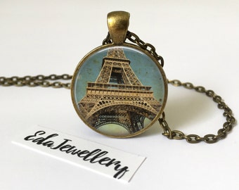 Eiffel Tower Pendant, Vintage Themed Necklace, Parisian Jewellery, Paris, France, Historical Monument