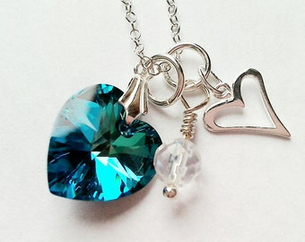 Blue swarovski, crystal necklace, silver necklace, rock quartz crystal, swarovski necklace, sterling silver, gifts, chic necklace, jewellery