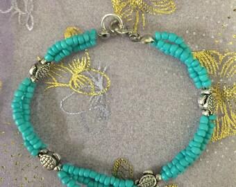 Turquoise SeaTurtle Seed Beed Bracelet