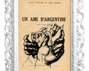 Hands, No. 4. Print on French publication of the illustration. 28x19cm.
