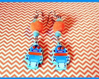 """Earrings """"Pom pom robot"""""""