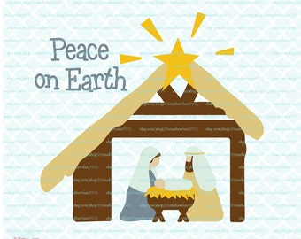 Peace on Earth Nativity Primitive Country Christmas Stable Christ in a Manger svg dxf eps jpg ai files for Cricut  Silhouette & others