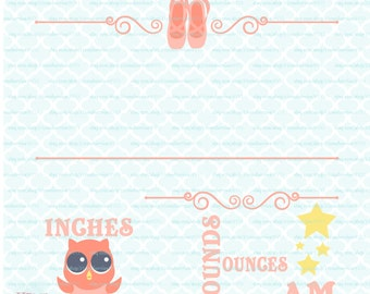 Ballerina Owl Birth Announcement Template svg Birth Stats svg Customizable Baby Statistics svg dxf eps jpg cut files