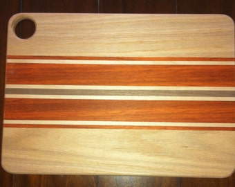 Handcrafted Maple, Walnut and Padouk Cutting Board
