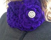 Purple Infinity Crochet Scarf with Vintage Rhinestone Button