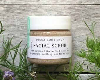 Travel Size Gentle Cleansing Facial Scrub 100% Natural with Bamboo & Green Tea Extracts for Brightening, Soothing, and Toning Skin