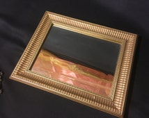 """Gorgeous Vintage Gilted Beveled Mirror by Artist Robert Grace of Hollister, CA ~ Measures 10"""" x 8"""""""