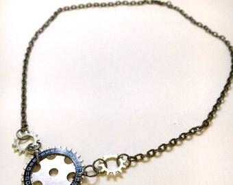 Silver Watch Date Wheel Necklace - Steampunk