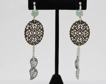 Brass aventurine earrings