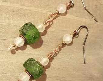 Green Recycled Glass Earrings with Brass Detail