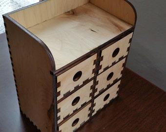 4 Tier Wooden Desktop Storage Unit With 6 Drawers