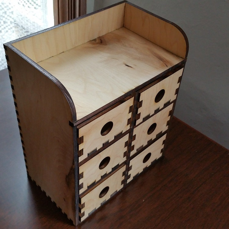 Tier wooden desktop storage unit with drawers