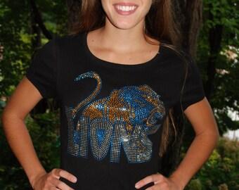 Lions rhinestud   bling  shirt,  all sizes XS, S, M, L, XL, XXL, 1X, 2X, 3X, 4X, 5X