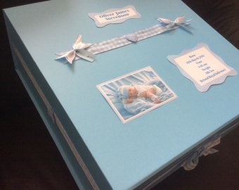 Baby Boy Keepsake Memory Box Personalised Christening New Baby Present Gift