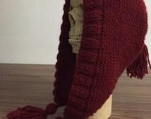 Wool hood winter knitted hat. Hood hat. Pixie knit hat.Tassels women hat.Snowfall Hat, Chunky Yarn Warm WInter Hat, hood, Bonnet