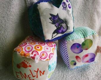 Hand Painted Baby Blocks, Custom Baby Toy, Bright Color Baby Blocks