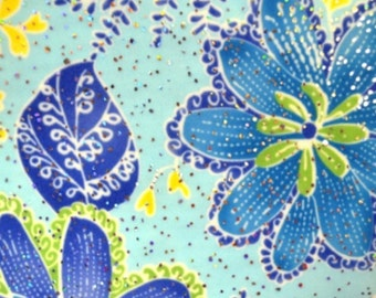 Blue foil tropical print