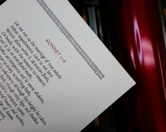 Let me not into the marriage of true minds -- Shakespeare's Sonnet 116, Printed Letterpress