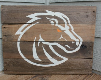 Boise State Broncos Rustic Wood Sign