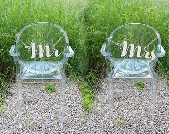 Mr & Mrs Wood Signs for Chair Backs or Decoration