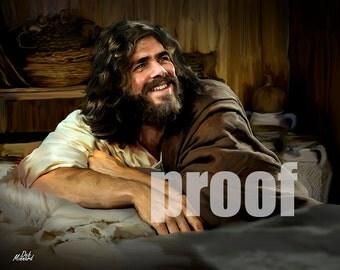 Jesus reclining