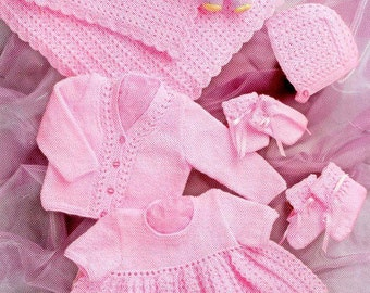 """PDF Knitting Pattern for Baby Shawl, Dress, Cardigan Hat and Bootees  - 12-20"""" Chests"""
