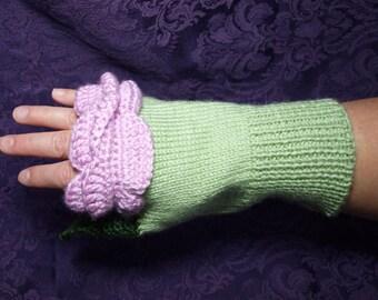Rose Fingerless Gloves - Pink Rose