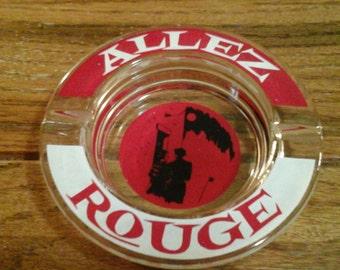 Vintage Allez Rouge Ashtray 1960's glass tobacciana smoking Cigars Cigarettes