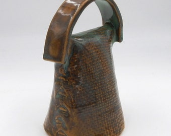 Ceramic Handmade Bell Brown Turquoise green Stoneware Pottery