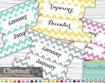 Planner Dividers - 12 Monthly Tab Dividers - Chevron | Planner Tabs | Custom Dividers | Monthly Planner | Custom Divider Tabs