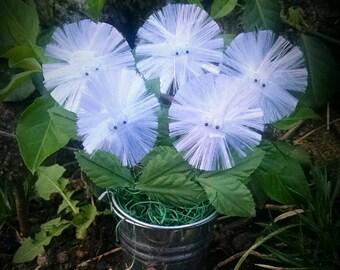 Mini Plant, Mini Fuzzy Flowers in Silver Bucket, Miniature Garden, Floral Arrangements, Mini felt flowers, Silk Arrangements - White