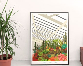The Barbican Conservatory London-  Illustrated poster, Matte and Giclee Art Prints in A3 or A2 sizes. Wall Art, Home Decor.
