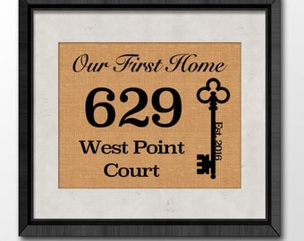 Our First Home, Personalized Housewarming Gift, Burlap Sign, Home Established, House Warming Gift, Burlap Print,  Home Sign