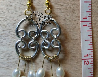 Hand-made two-tone wire work earrings