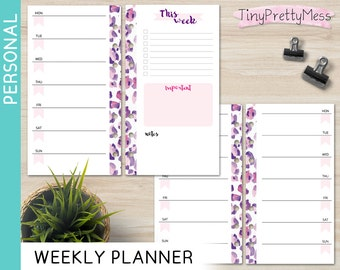 Printable Personal Weekly Planner Week on 1 page Perpetual Undated Inserts for Filofax Personal, Kikki K Medium - PDF - Leopard Design
