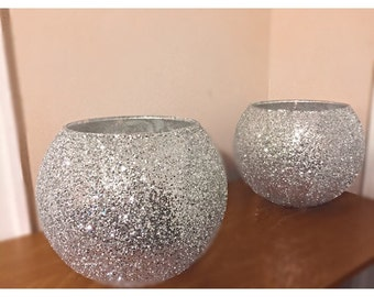 Sliver Glittered bowl candle holder