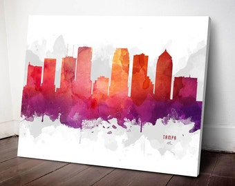 Tampa Skyline Canvas, Tampa Print, Tampa Art, Tampa Gift, Tampa Cityscape, MMR-USFLTA04C