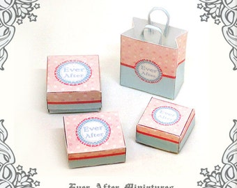 Dollhouse Bakery Miniature Cake Box & Gift Bag Set (1:12) –3 Bakery Box Miniature Donuts Box Dessert Box Cake Box + 1 Bag Printable DOWNLOAD