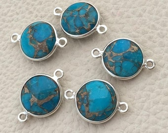 925 Sterling Silver,COPPER MOJAVE TURQUOISE Faceted Coin Shape Connector,1 Piece of 18mm