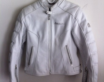 Vintage white leather  jacket rocker & biker style.