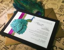 Peacock Theme Wedding Invitation