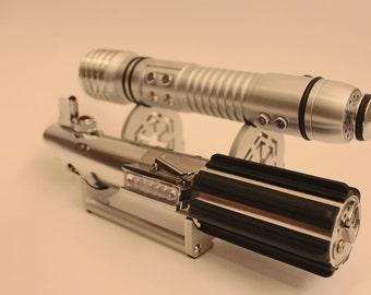 Round Design Silver color Aluminum lightsaber Stand for 2 Saber