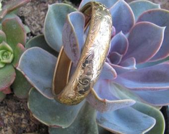 Vintage Gold Plated Floral Engraved Initial Bracelet