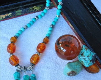 Amber and Turquoise Necklace