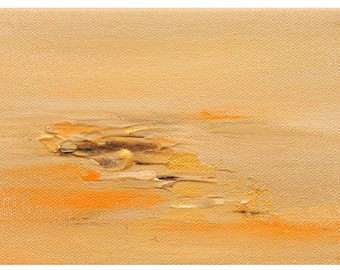Tiny Paintings! 4x6 Abstract Landscape // Mix and Match! // orange beige tan cream gold