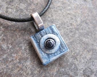 Porcelain pendant, ceramic pendant, cabochon pendant, square pendant, blue pendant, ceramic jewellery, porcelain jewellery