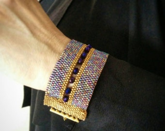Amazing peyote bead woven bracelet purple and gold,miyuki beads ,delica