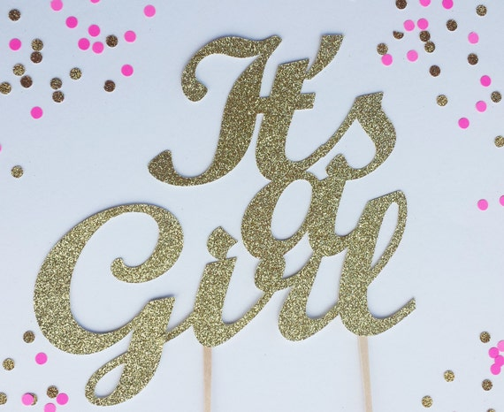 Its A Girl Cake Topper Silver Or Gold Glitter Baby Cake