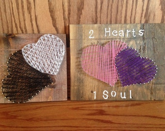 String art double hearts